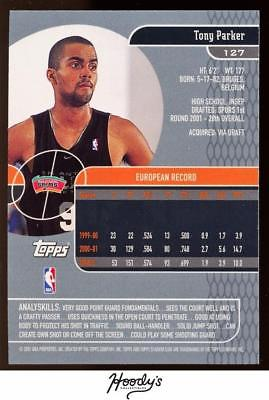Image of 2001-02 Stadium Club #127 Tony Parker Rooke SHARP CARD RC SPURS