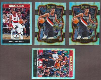 Image of (4) Trail Blazers Card Lot 2017-18 Select, Hoops  Mccollum Numbered & Silver
