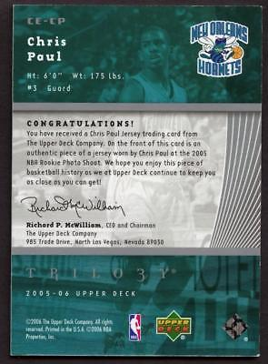 2005-06 Upper Deck Trilogy The Cutting Edge Chris Paul Jersey Relic HORNETS RC