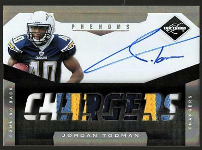 ZB) 2011 LIMITED JORDAN TODMAN #236 RC ROOKIE 4 CLR PATCH AUTO #72/299 CHARGERS