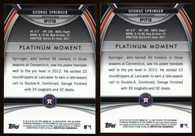(2) 2010 Bowman Platinum Prospects Purple Refractor George Springer Rookie Lot