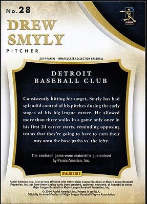 JC 2014 Immaculate Collection Clubhouse Material #28 Drew Smyly Jersey 02/79