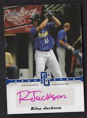 VM) 2013 Leaf Perfect Game Riley Jackson Blue Autograph AUTO 09/25