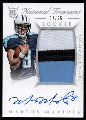 2015 National Treasures Silver Marcus Mariota 3-Color RPA PATCH AUTO 02/25 RC