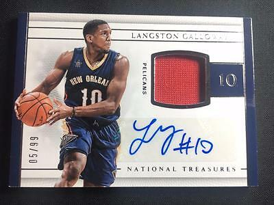 ET) 2016-17 National Treasures Langston Galloway Jersey AUTO 05/99 PELICANS