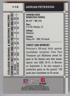 2007 TOPPS FINEST ADRIAN PETERSON #112 RC ROOKIE MINNESOTA VIKINGS