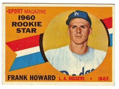 Image of 1960 TOPPS BASEBALL FRANK HOWARD #132 RC ROOKIE VG-EX DODGERS HBV $25