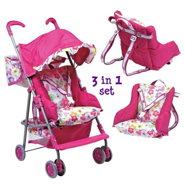 3-in-1 Baby Doll Double Stroller Set with Removable Seat ...