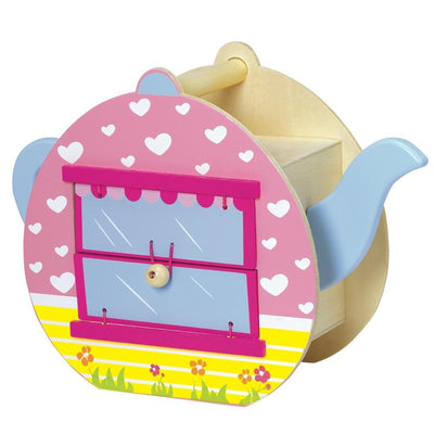 "17-pc. ""Teapot Café"" Wooden Toy Play Set - Figurines, Tables, Stools"