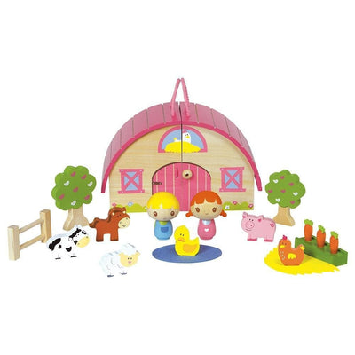 "15-pc. ""Sunrise Farm"" Wooden Toy Toyplay Set - Animals, Trees & More"
