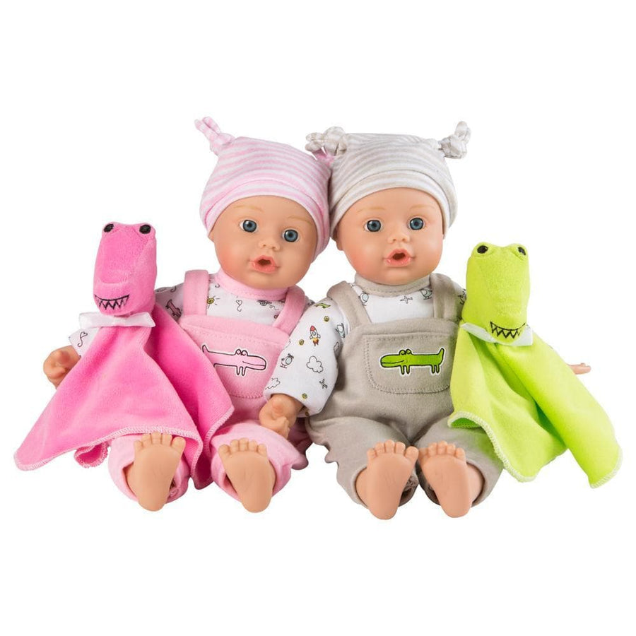 "Twin Baby Dolls Gift Set - Later Alligator, 11"" Vinyl Babies 