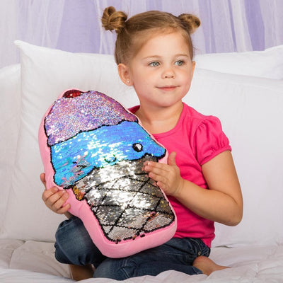Adora Flip Reversible Sequin Pillow Plush Play Ice Cream 13x13.75""
