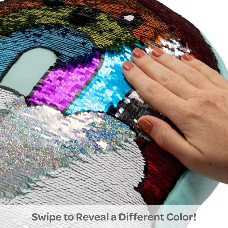 Adora Flip Reversible Sequin Pillow Plush Play Rainbow 13x13.75""