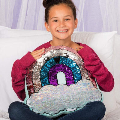Flip-Out! Sequin Plush Pillow - Play Rainbow