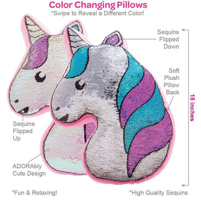 Adora Flip Reversible Sequin Pillow Plush Play Unicorn 15x12.5""