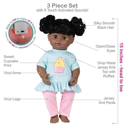 Adora Interactive Baby Doll, 15 inch My Cuddle & Coo Cuppy Cake