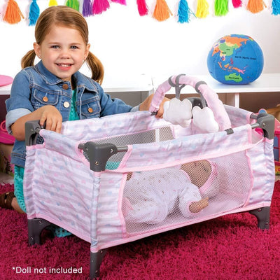 Adora Baby 7 piece Doll Crib Set - Deluxe Pink Pack N Play 20""