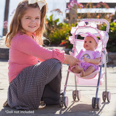 Adora Baby Doll Stroller - Pink Medium Shade Umbrella Stroller 19x10""