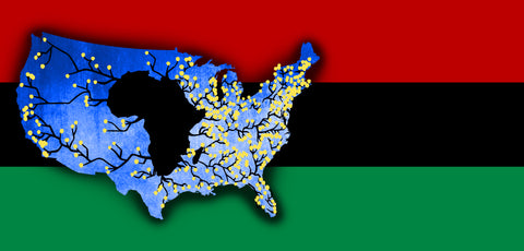 Red, Black And Green Flag with map of united states and cutout of African Continent in the middle