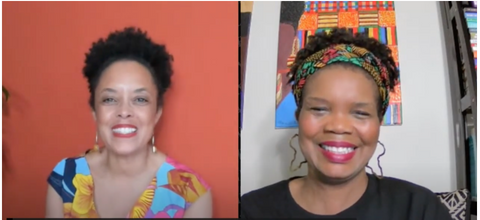 Dr. Gina Paige and Founder Marcie Thomas pictured side by side on Facebook Live