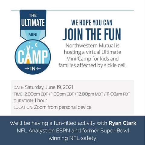 We Hope You Can Join The Fun - Mini Camp for Sickle Cell Awareness with NFL Player, Ryan Clark