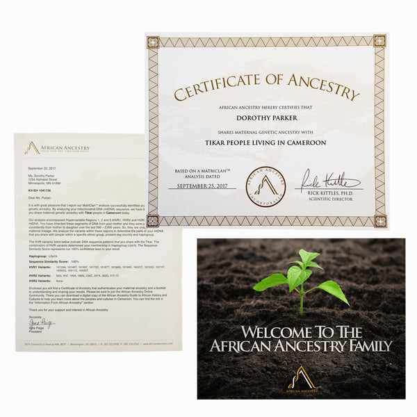 African Ancestry MatriClan Test Kit Results Certificate