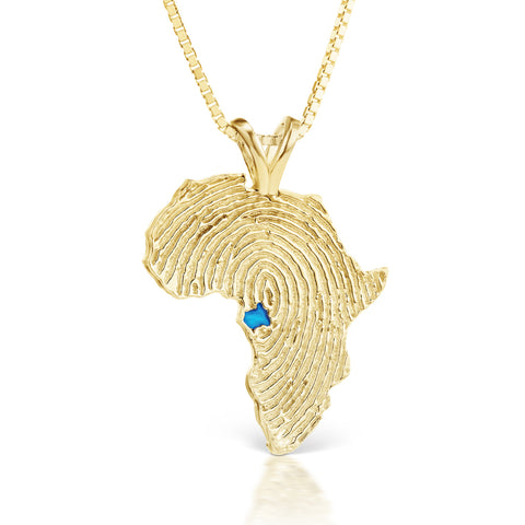 Gabon Heirloom Pendant - 14K Yellow Gold 43mm