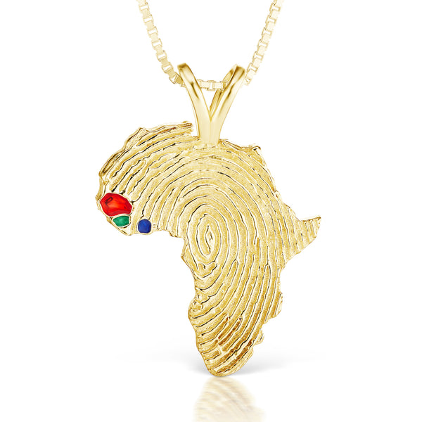 Senegal, Guinea-Bissau and Sierra Leone Heirloom Pendant - 14K Yellow Gold 43mm