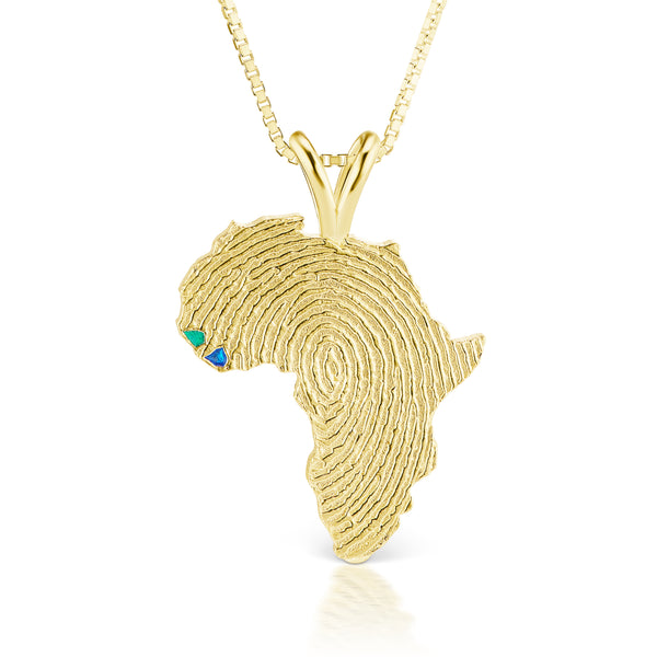 Guinea-Bissau and Sierra Leone Heirloom Pendant - 14K Yellow Gold 34mm