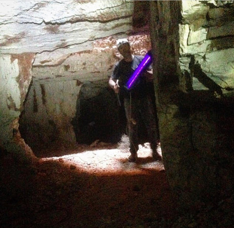 Shannon with the old cumbersome 240 volt blacklight underground.