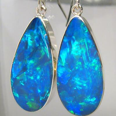 BIG Sterling Silver Natural Inlay Australian Opal Earrings Jewelry Gift 22ct A76