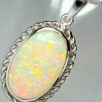 Opal Pendant Solid Natural Australian Vintage Style Halo Authentic Gem Gift #A53