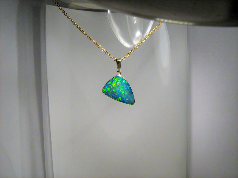 Australian Opal Pendant 7.2ct 14k Gold Genuine Inlay Jewelry Gem Necklace #D26