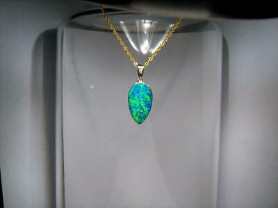 Australian Opal & Diamond Pendant Inlay Stunning Jewelry 14k Gold Gift 7.7ct B94