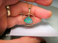 Rare Handmade Opal Hoop Pendant Stunning Floral 14kt Gold Jewelry 9.5ct Gift A63