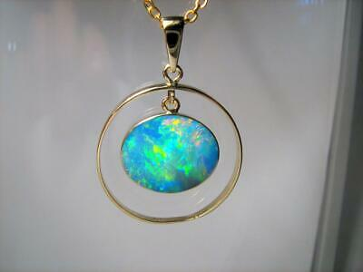 Australian Opal Pendant 14k Gold Genuine Natural Jewelry 11.2ct Gem Gift C05
