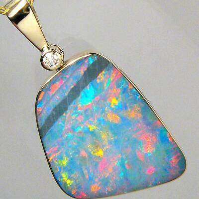 8.7ct 14k Gold Natural Australian Opal & Diamond Pendant Inlay Jewelry Gem 881