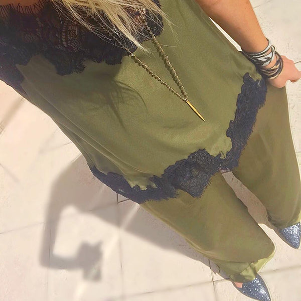 Goldhawk Hammered Silk Wide Leg Pants - cactus + olives