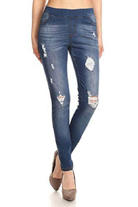 Stretch Pull On Distressed Jean Leggings - cactus + olives