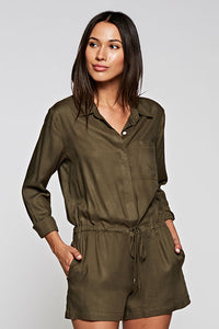 One Piece Long Sleeve Shortie Romper - cactus + olives