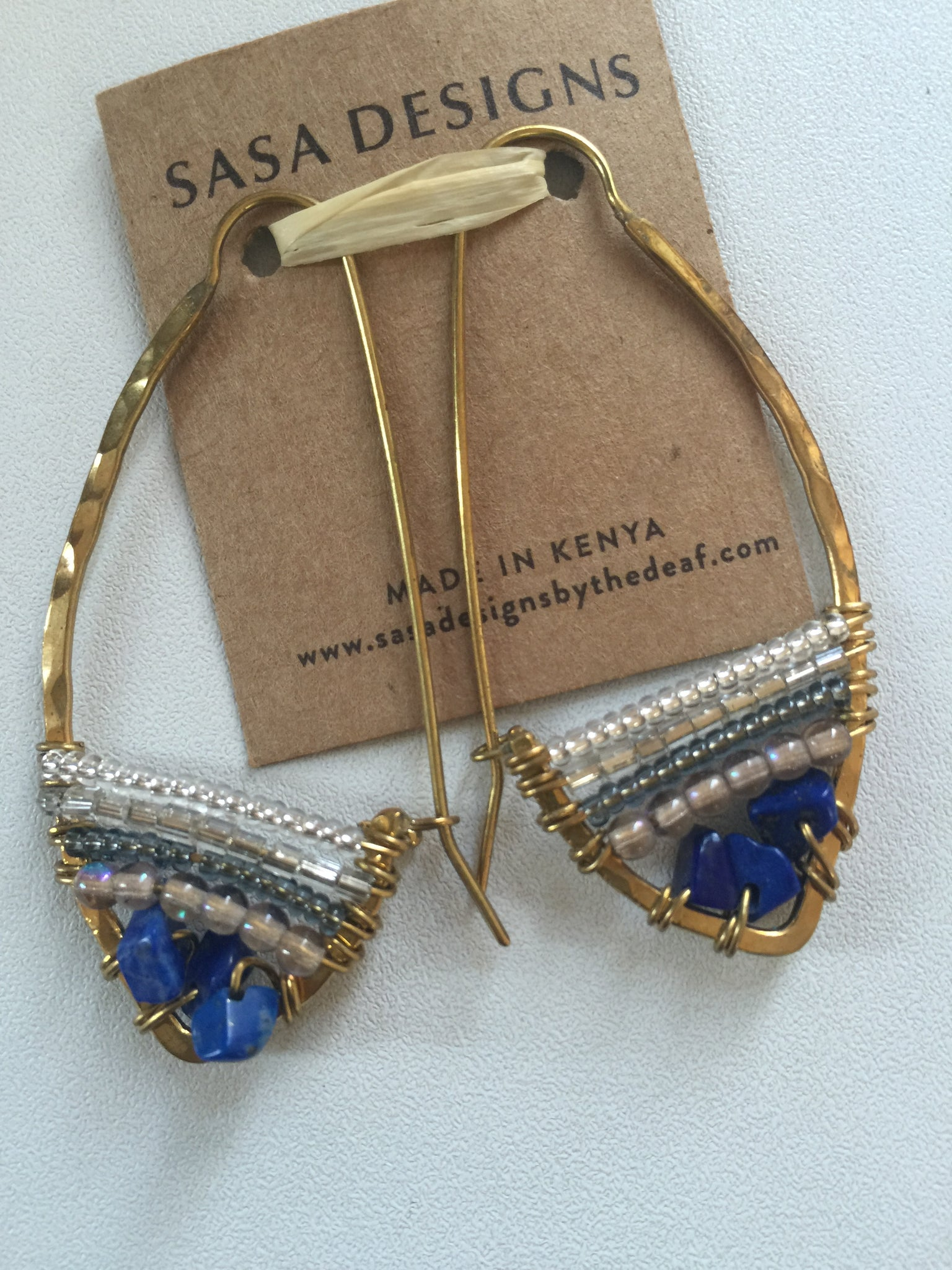 Ndoto Earrings Lapiz Lazuli - cactus + olives