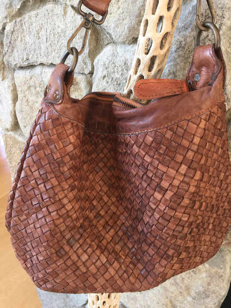 Sofia Woven Leather Intrecciato Shoulder Bag - cactus + olives