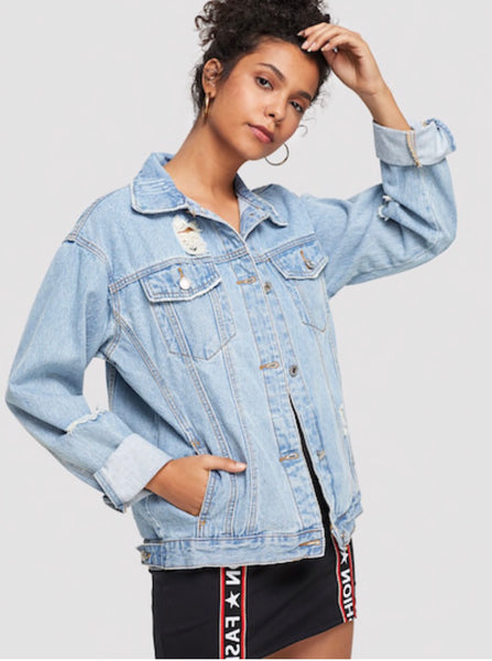 Oversized Ripped Denim Jacket - cactus + olives