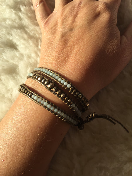 Chan Luu Leather with Bronze and Chalcedony Beads Wrap Bracelet