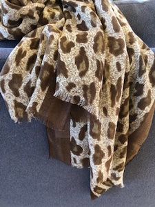 Oversized Lightweight Leopard Scarf Wrap - cactus + olives