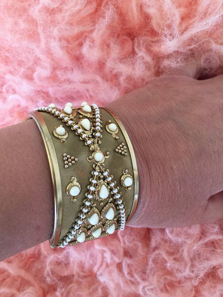 Gorgeous hinged cuff bracelet with pearl seeds