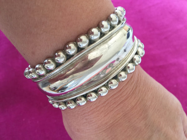 Solid Sterling Silver Cuff Bracelet from Mexico