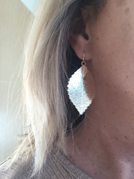 Light boho luxe leaf earrings