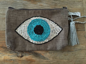 Evil Eye Clutch - Taupe/Silver