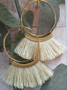 Gold Fringe Tribal Statement Earrings - cactus + olives